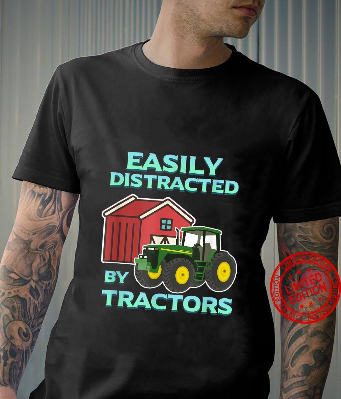 Easily Distracted By Tractors Farmer Ranch Farming Herd Farm Shirt