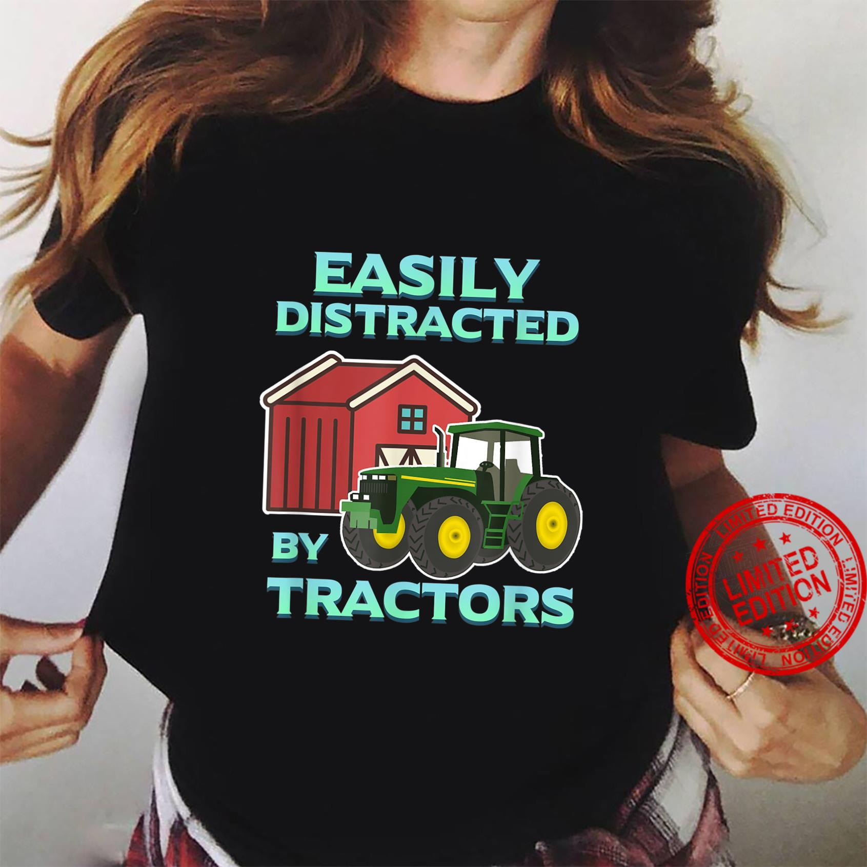 Easily Distracted By Tractors Farmer Ranch Farming Herd Farm Shirt ladies tee