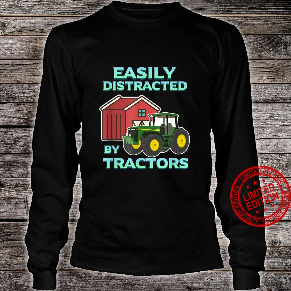 Easily Distracted By Tractors Farmer Ranch Farming Herd Farm Shirt long sleeved